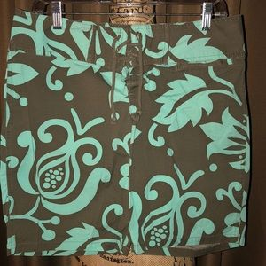 Pants - Brown & Light Teal Tropical Print Board Shorts - M
